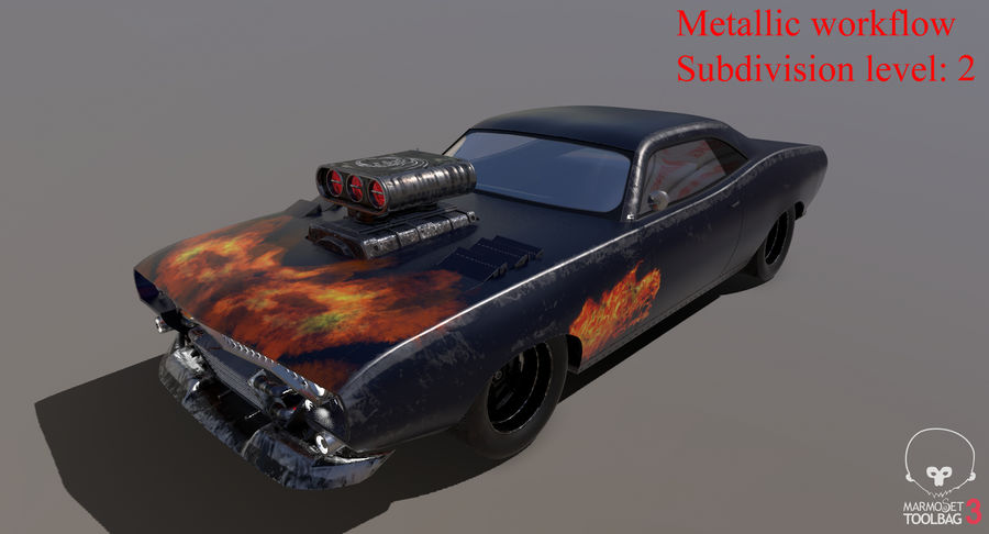 Muscle Car Dragster royalty-free 3d model - Preview no. 30