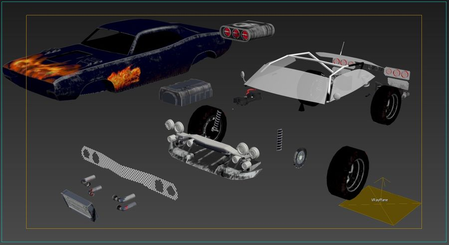 Muscle Car Dragster royalty-free 3d model - Preview no. 29