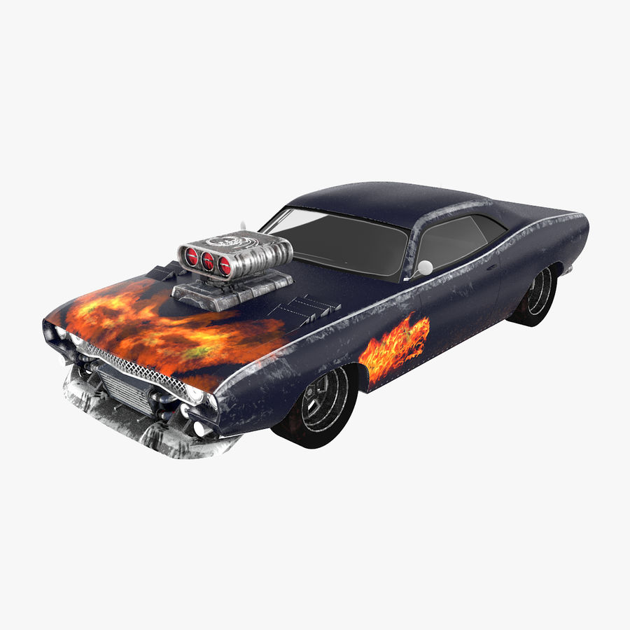 Muscle Car Dragster royalty-free 3d model - Preview no. 1