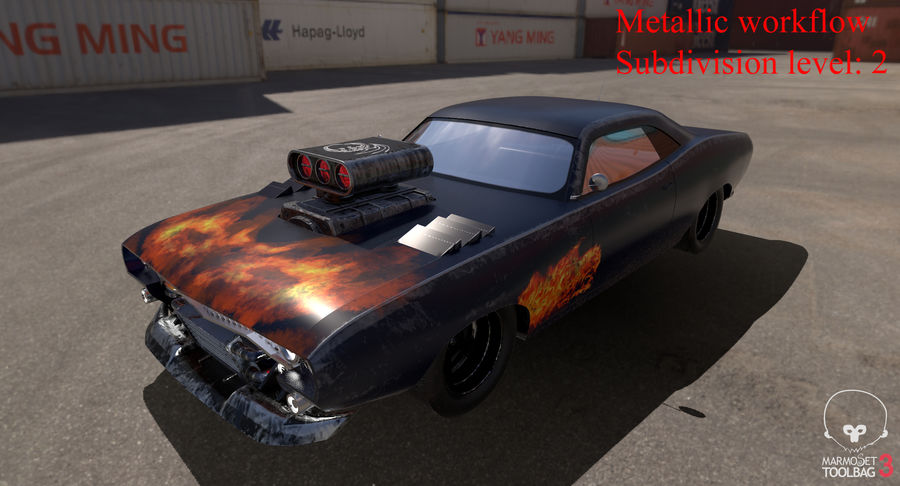 Muscle Car Dragster royalty-free 3d model - Preview no. 34