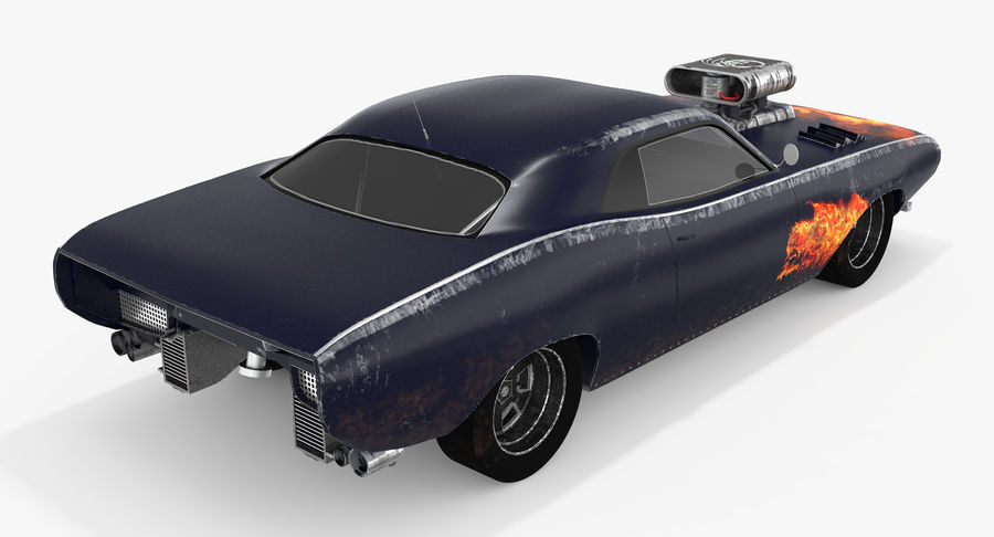 Muscle Car Dragster royalty-free 3d model - Preview no. 6