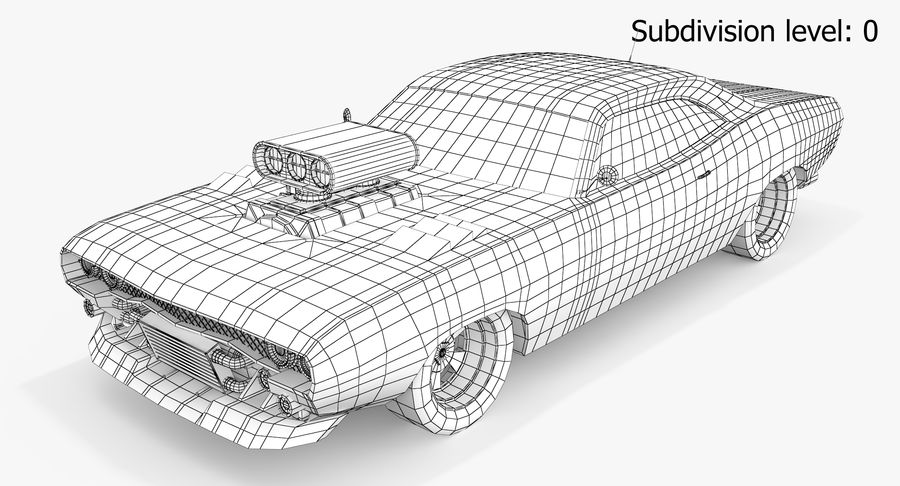Muscle Car Dragster royalty-free 3d model - Preview no. 4