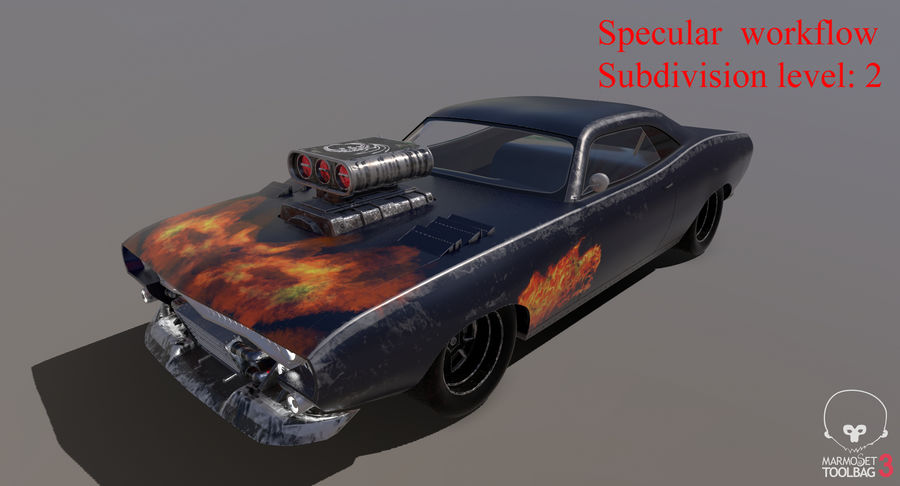 Muscle Car Dragster royalty-free 3d model - Preview no. 53