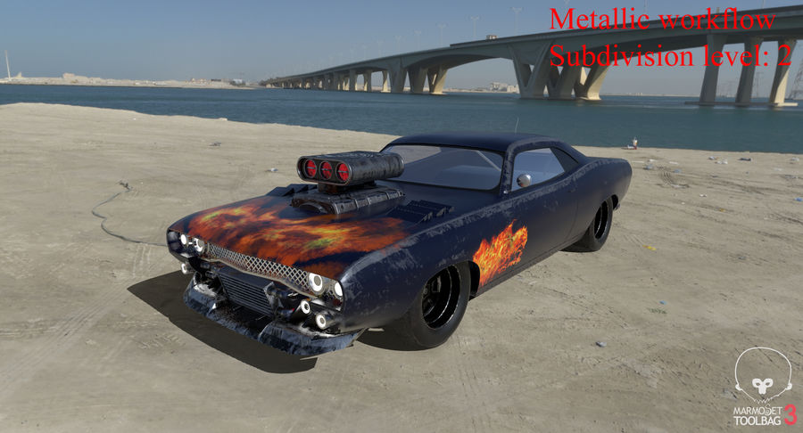 Muscle Car Dragster royalty-free 3d model - Preview no. 43