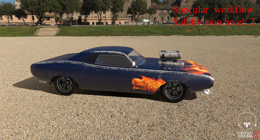 Muscle Car Dragster royalty-free 3d model - Preview no. 57