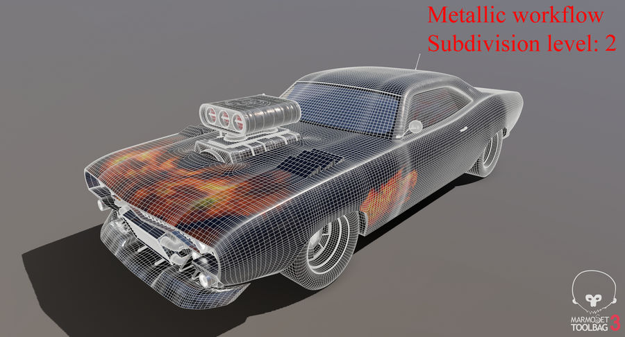 Muscle Car Dragster royalty-free 3d model - Preview no. 31