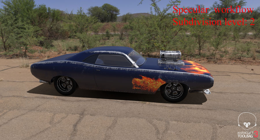 Muscle Car Dragster royalty-free 3d model - Preview no. 58