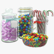 Candy Glass Jars Collection 3d model