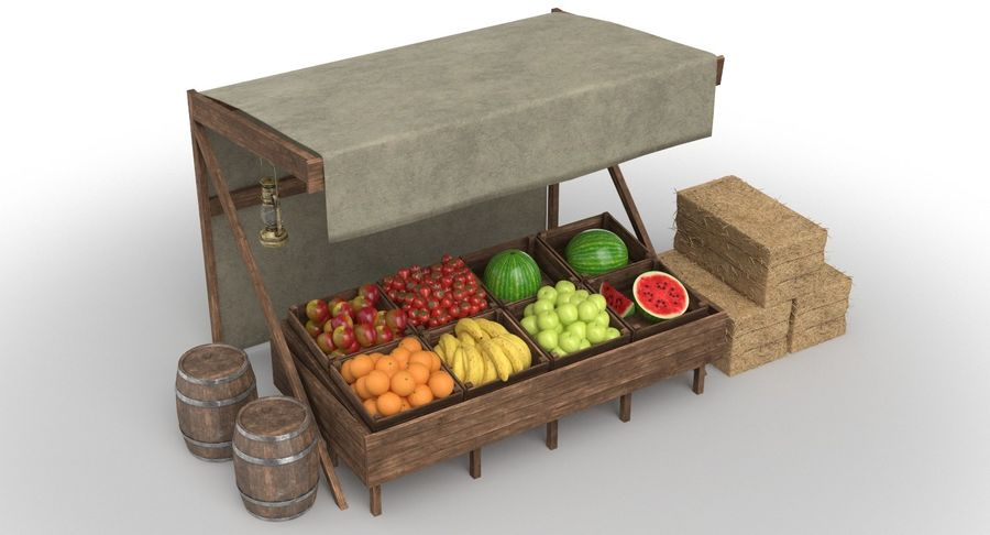 Market Stall royalty-free 3d model - Preview no. 7
