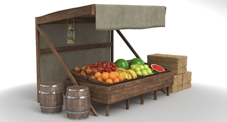 Market Stall royalty-free 3d model - Preview no. 2