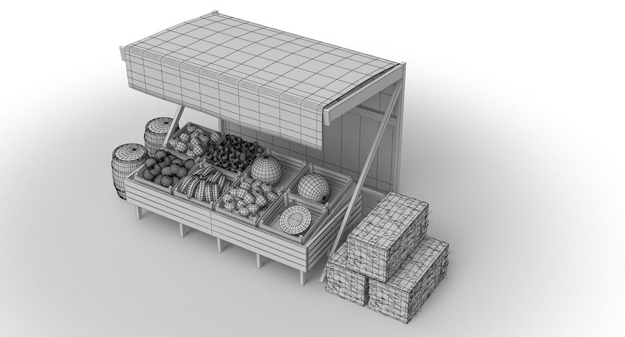 Market Stall royalty-free 3d model - Preview no. 25