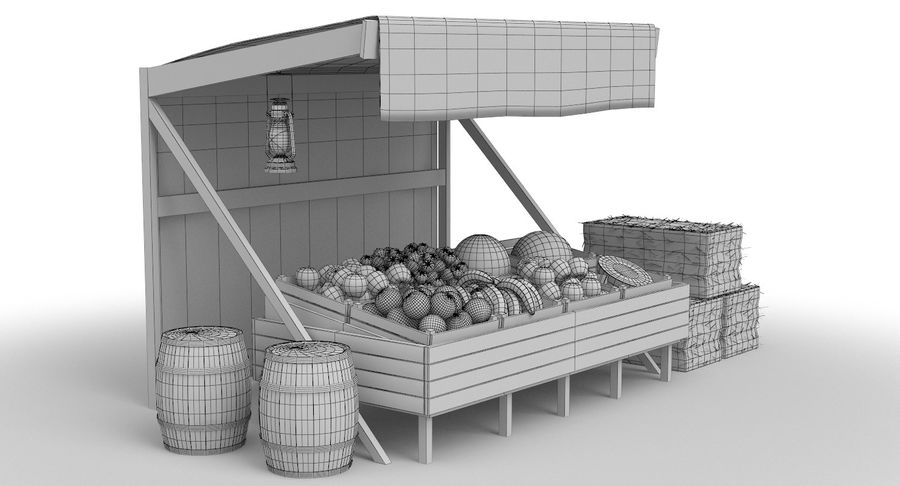 Market Stall royalty-free 3d model - Preview no. 24