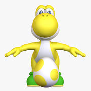 Classic Yellow Yoshi Super Mario Galaxy - Egg 3d model