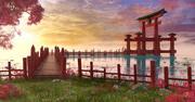 Japanese Dock Torii Sunset 3d model