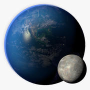 Modelo 3D de 16K fotorrealista da Terra e da Lua 3d model