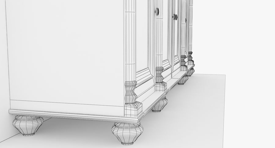 Buffet Cabinet royalty-free 3d model - Preview no. 17