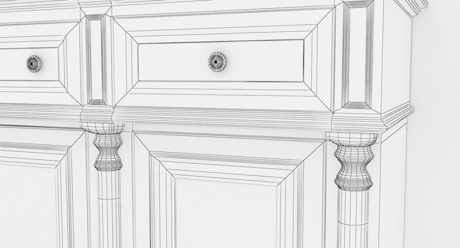 Buffet Cabinet royalty-free 3d model - Preview no. 20