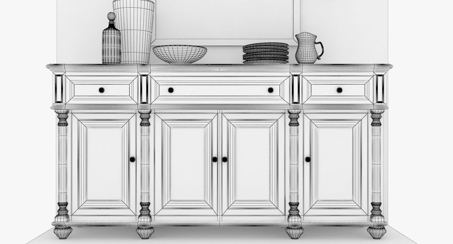 Buffet Cabinet royalty-free 3d model - Preview no. 13