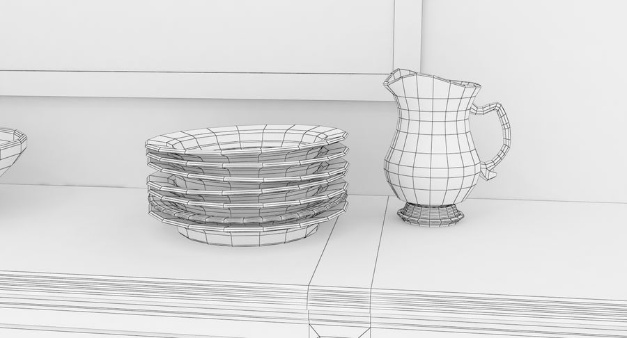 Buffet Cabinet royalty-free 3d model - Preview no. 18