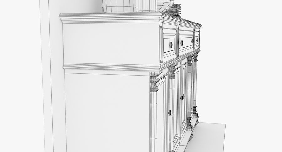 Buffet Cabinet royalty-free 3d model - Preview no. 16