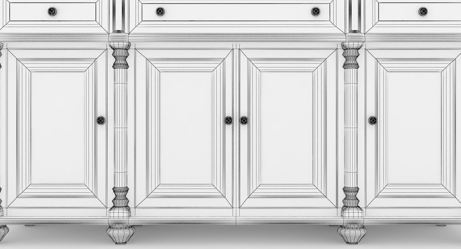 Buffet Cabinet royalty-free 3d model - Preview no. 14
