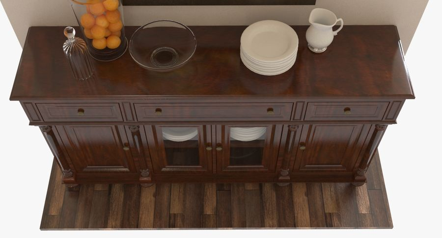 Buffet Cabinet royalty-free 3d model - Preview no. 8