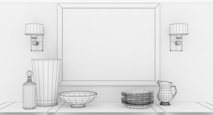Buffet Cabinet royalty-free 3d model - Preview no. 15