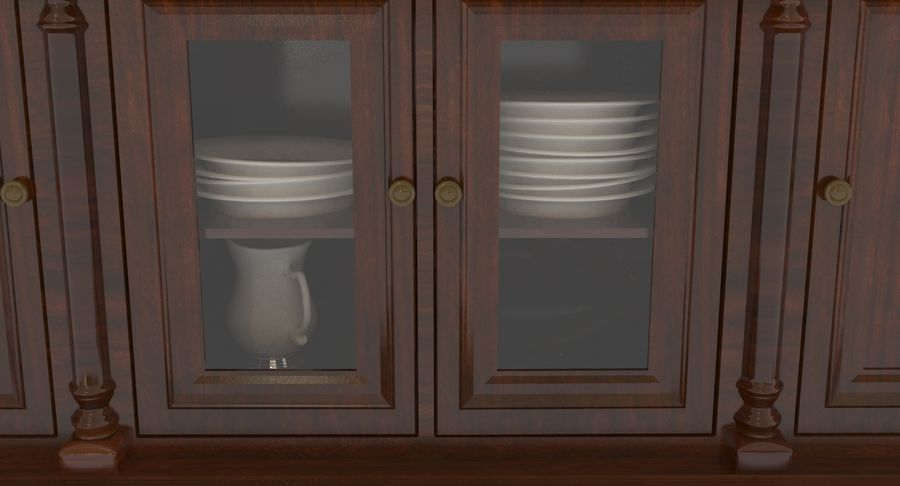 Buffet Cabinet royalty-free 3d model - Preview no. 7
