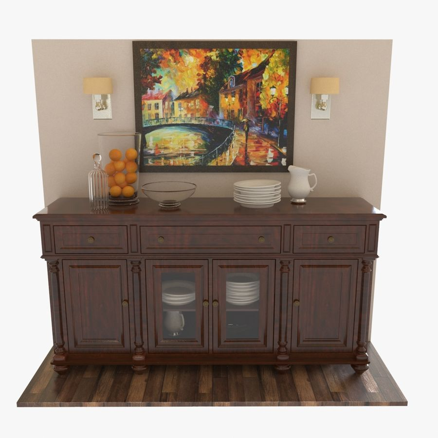 Buffet Cabinet royalty-free 3d model - Preview no. 1