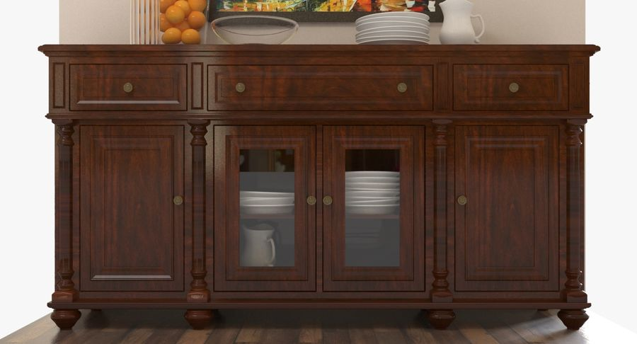 Buffet Cabinet royalty-free 3d model - Preview no. 3