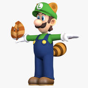 Raccoon Tail Luigi Super Mario Bros karaktär - Super Leaf 3d model