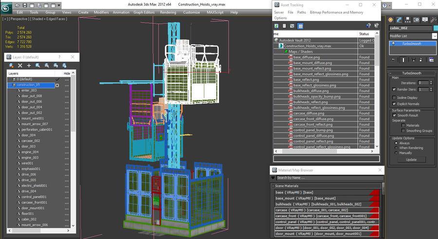 Gruas de construção royalty-free 3d model - Preview no. 32