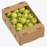 Cardboard Box 01 With Golden Delicious Apple Full 3d model