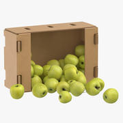 Cardboard Box 01 With Golden Delicious Apple Spilled 3d model