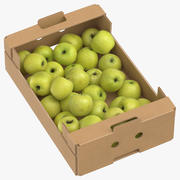Cardboard Box 02 With Golden Delicious Apple Full 3d model