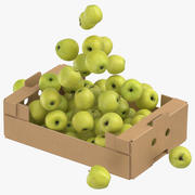 Cardboard Box 02 With Golden Delicious Apple Flying 3d model
