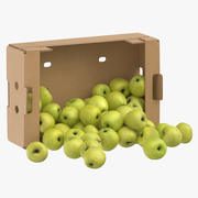 Cardboard Box 02 With Golden Delicious Apple Spilled 3d model