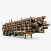 Logging Trailer met Logs 3d model