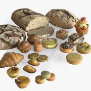 写実的なペストリーとパン 3d model