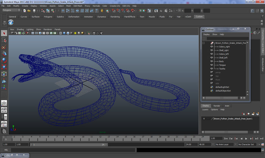 Yellow Python Snake Attack Pose royalty-free 3d model - Preview no. 22