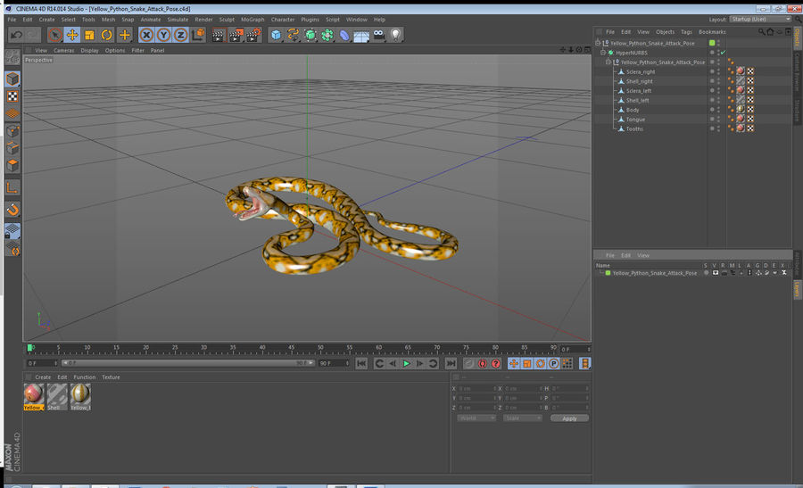 Yellow Python Snake Attack Pose royalty-free 3d model - Preview no. 23