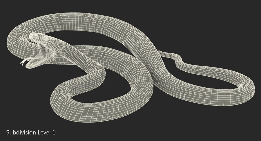Yellow Python Snake Attack Pose royalty-free 3d model - Preview no. 19
