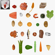 Fruits-Nuts-Nutrition Pack Low-Poly 3d model