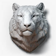 Tiger Head Animal Sculpture 3d model