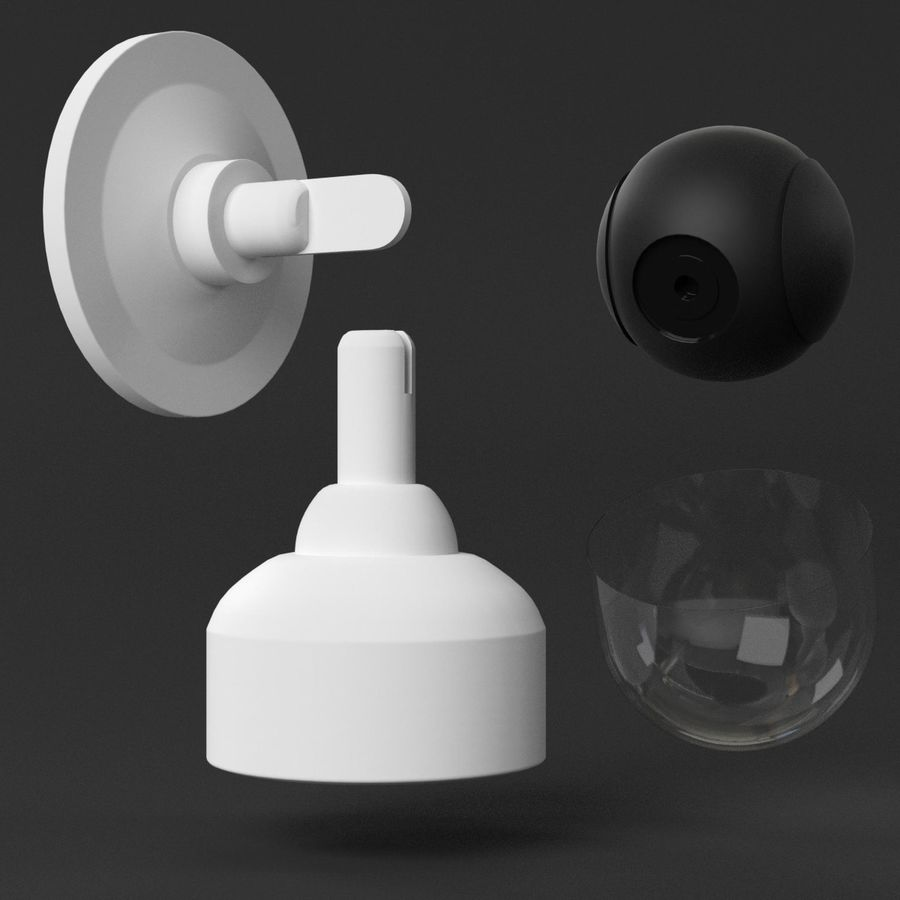 Wall mounted dome surveillance camera royalty-free 3d model - Preview no. 5
