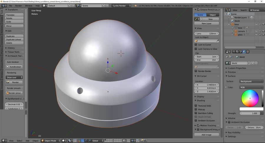 Dome surveillance camera royalty-free 3d model - Preview no. 9