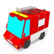 Fire Truck Cartoon Car Низкополигональная 3d model