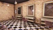 Barbearia - interior e adereços 3d model