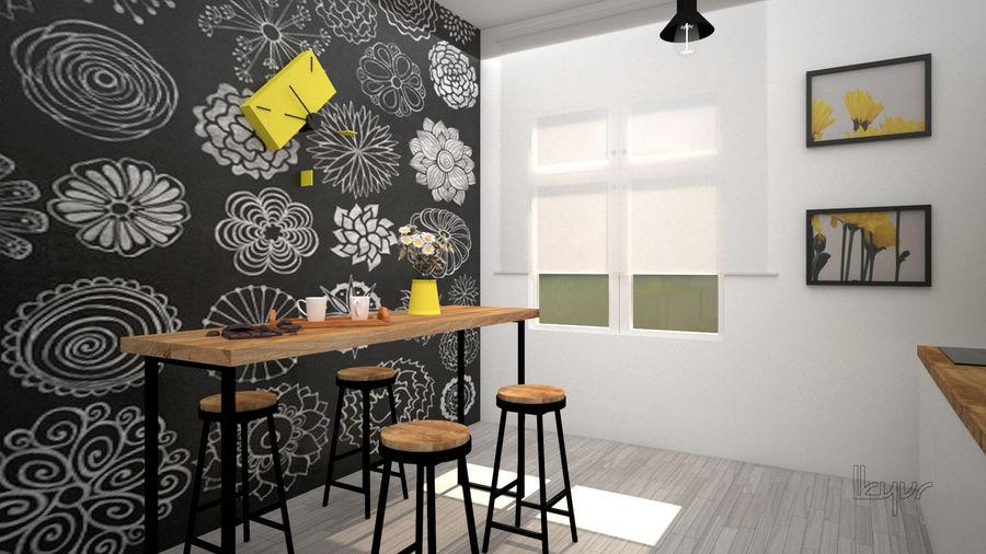 Keuken / modern interieur royalty-free 3d model - Preview no. 3