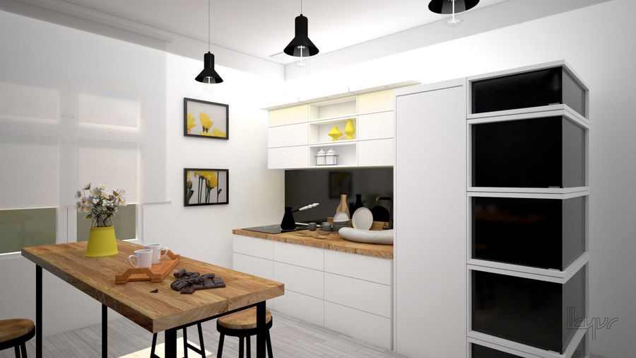Kitchen/modern interior royalty-free 3d model - Preview no. 2
